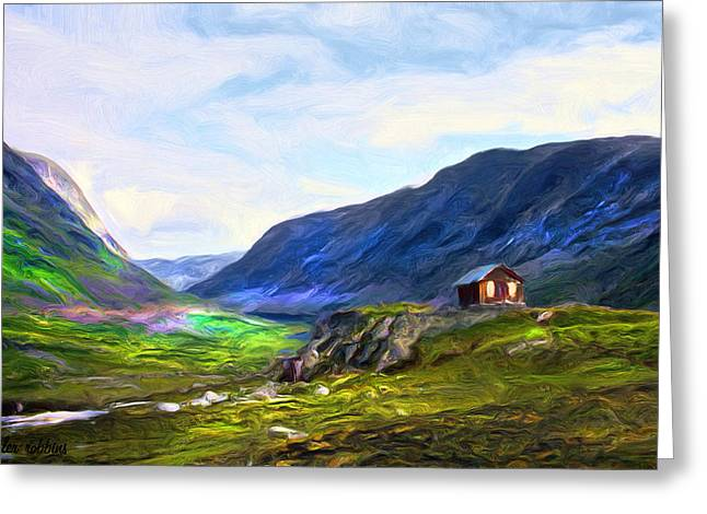 Greeting Card featuring the painting Cabin In The Valley by Tyler Robbins