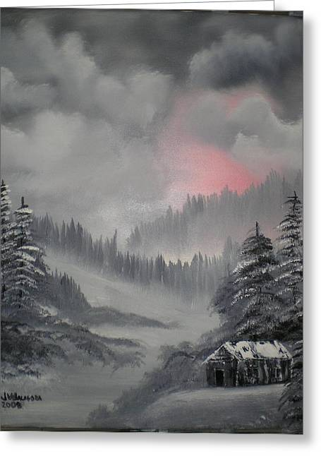 Cabin In The Winter Forset Greeting Card by James Waligora