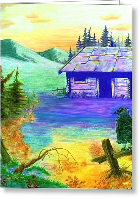 Cabin In The Woods Greeting Card by Brad Simpson