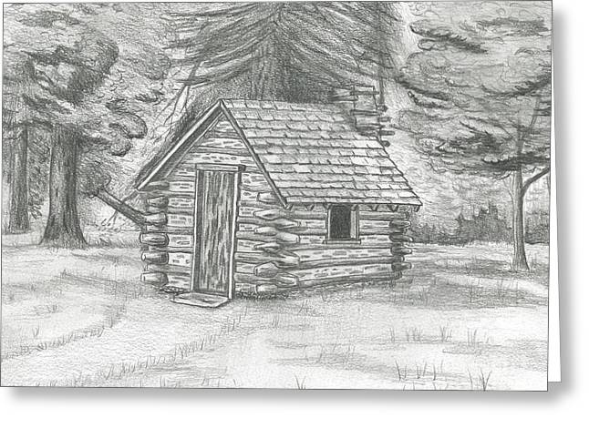 Cabin In The Woods Greeting Card By David Lingenfelter