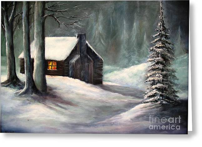 Greeting Card featuring the painting Cabin In The Woods by Hazel Holland