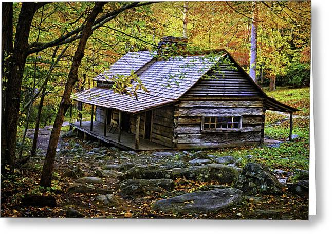 Cabin In The Woods Greeting Card by Lawrence Golla