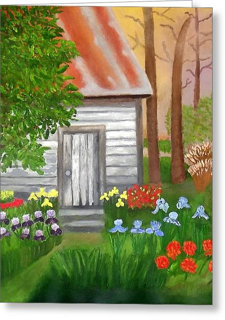 Cabin In The Woods Greeting Card by Margaret Harmon
