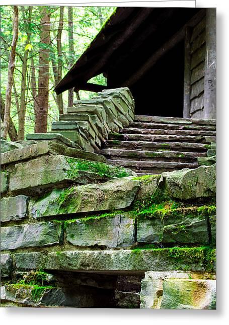 Cabin Staircase - Buttermilk Falls Greeting Card by John Baumgartner