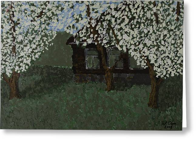 Cabin With Blossoms Woods Spring Greeting Card