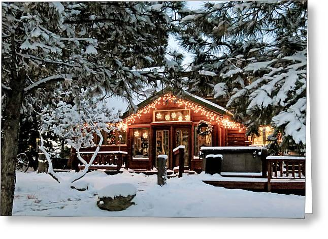 Cabin With Christmas Lights Greeting Card