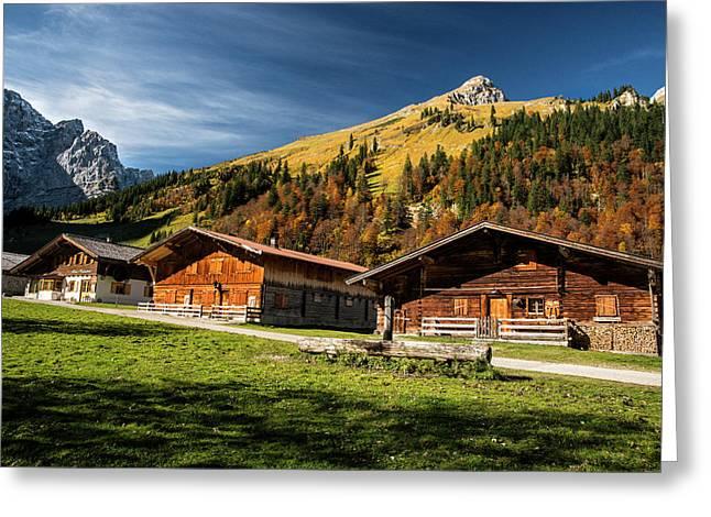 Cabins High In The Austrian Alps Fall Greeting Card by Sheila Haddad