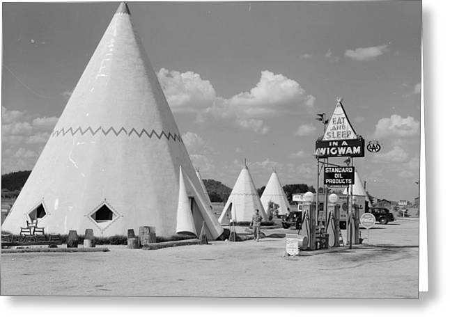Cabins Imitating The Indian Teepee For Tourists Along Highway Greeting Card