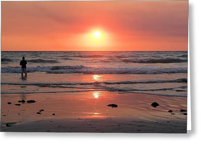 Cable Beach At Sunset With Figure Greeting Card