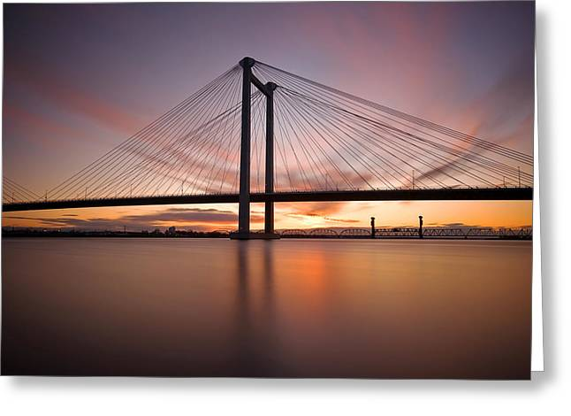 Greeting Card featuring the photograph Cable Bridge by Ronda Kimbrow