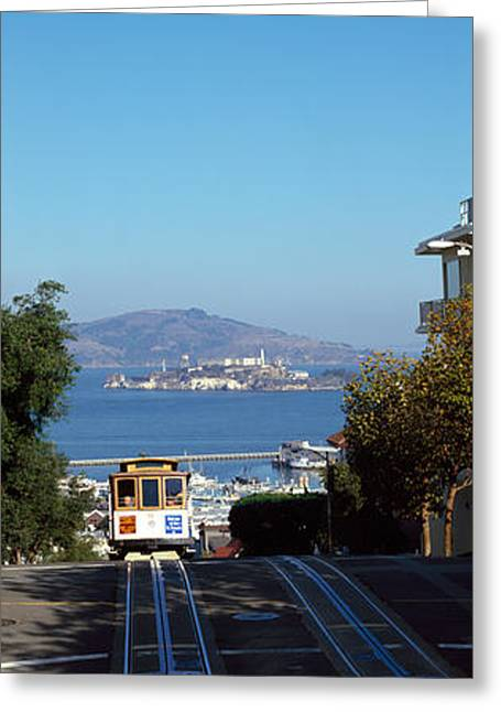 Cable Car On Tracks, Alcatraz Island Greeting Card by Panoramic Images