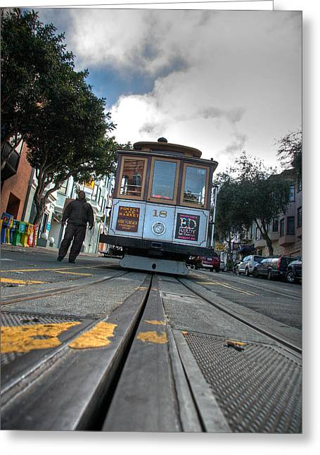 Cable Car Greeting Card by Peter Tellone