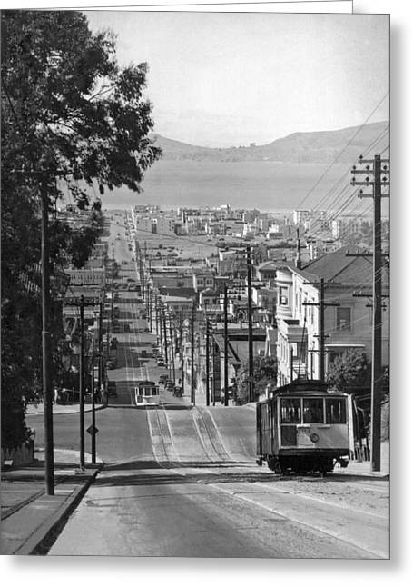 Cable Cars On Fillmore Street Greeting Card
