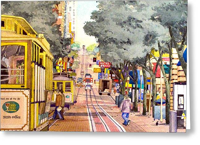 Cable Cars On Powell Street Greeting Card