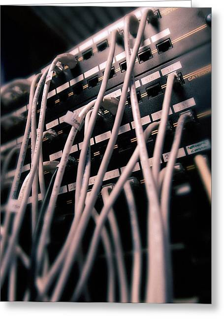 Cables In Server Room Greeting Card by Mark Sykes