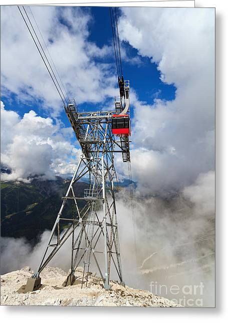 cableway in Italian Dolomites Greeting Card by Antonio Scarpi