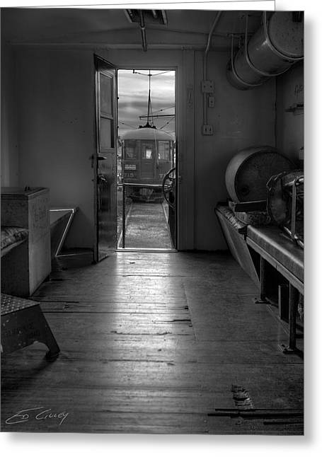 Greeting Card featuring the photograph Caboose Door by Ed Cilley