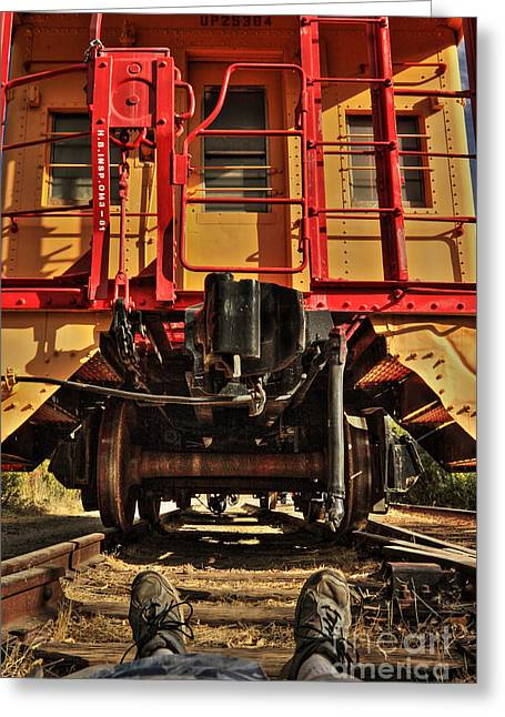 Caboose On The Loose Greeting Card by James Eddy