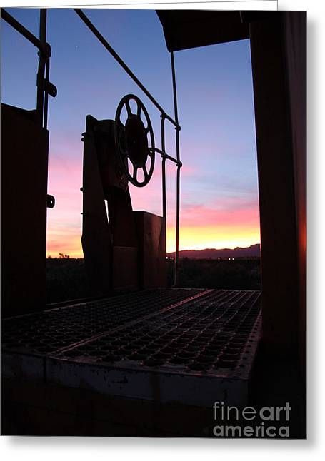 Caboose Waiting Til Dawn Greeting Card by Diane Greco-Lesser
