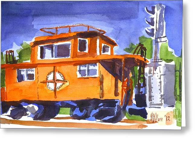 Caboose With Silver Signal Greeting Card by Kip DeVore
