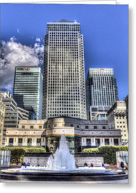 Cabot Square London Greeting Card by David Pyatt