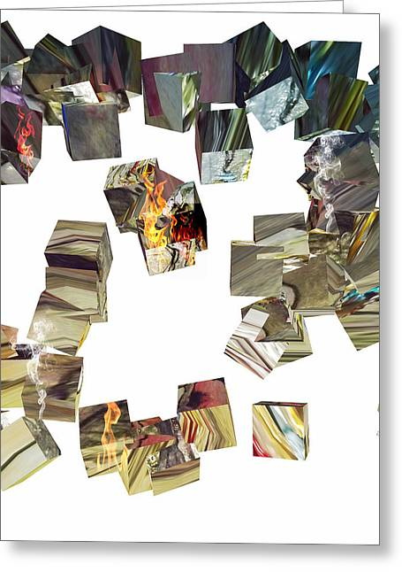 Cacophony Of Cubes Greeting Card by Jan Steadman-Jackson