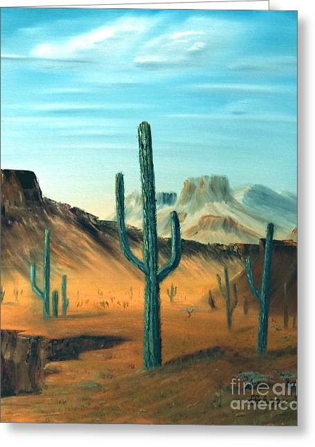 Cactus And Mesa Greeting Card by Stephen Schaps