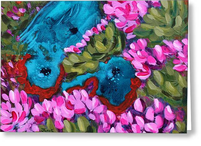 Cactus Flower Blue Bird Dream Greeting Card