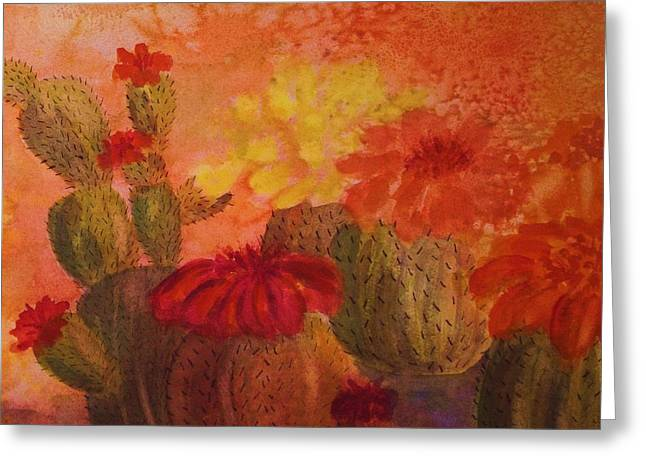 Cactus Garden - Square Format Greeting Card by Ellen Levinson