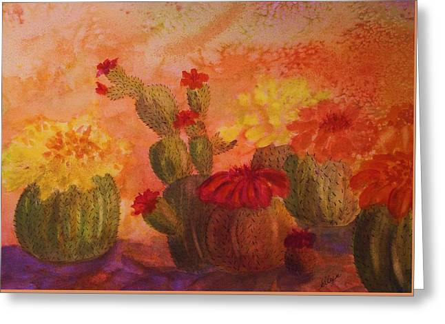 Cactus Garden Greeting Card by Ellen Levinson
