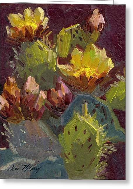Cactus In Bloom 1 Greeting Card by Diane McClary
