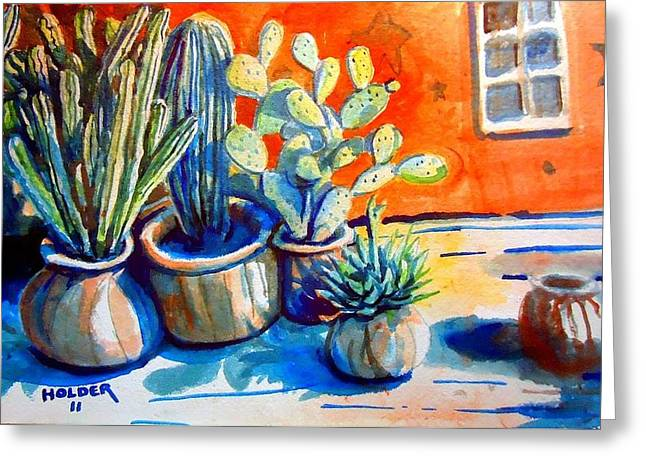 Cactus In Pots Greeting Card
