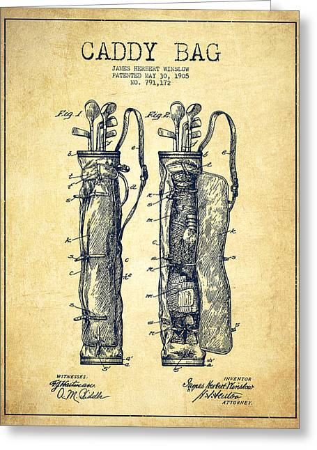 Caddy Bag Patent Drawing From 1905 - Vintage Greeting Card by Aged Pixel