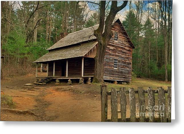 Cades Cove Cabin Greeting Card by Janice Spivey