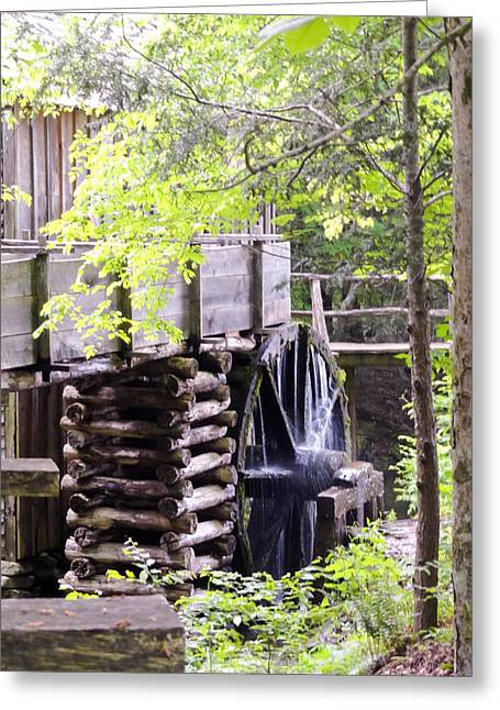 Cades Cove Cable Mill Water Wheel Greeting Card by Cynthia Woods