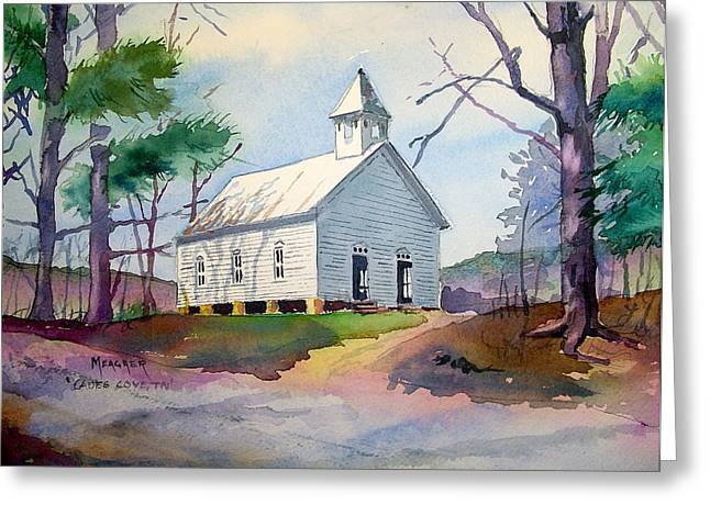Cades Cove Church Greeting Card by Spencer Meagher