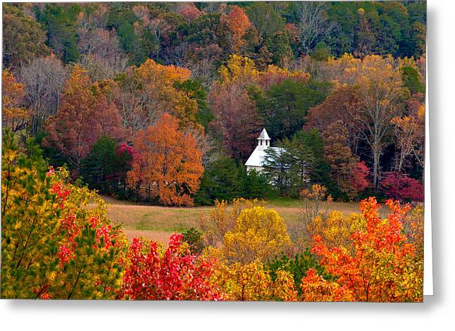 Greeting Card featuring the photograph Cades Cove Church by Tyson and Kathy Smith