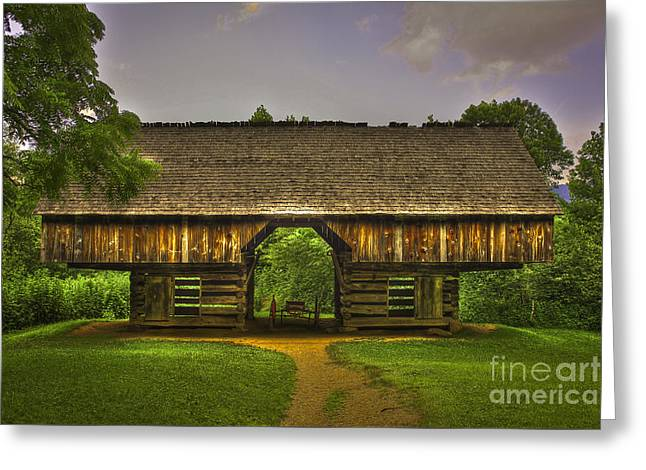 Cades Cove Cantilever Barn Great Smokey Mountains Greeting Card by Reid Callaway