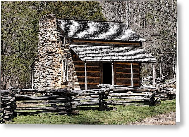 Cades Cove Old Cabin Art01 Greeting Card