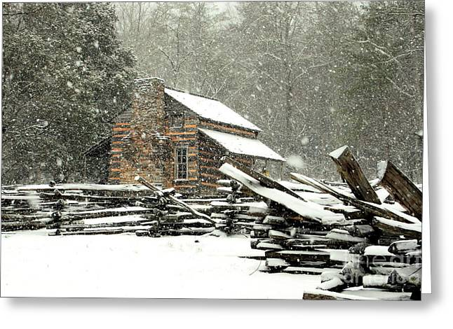 Cades Cove - Snowy Cabin Greeting Card