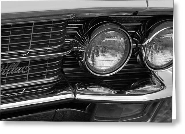 Greeting Card featuring the photograph Cadillac Grill And Lights B/w by Mick Flynn