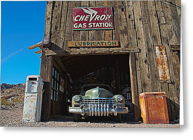 Cadillac In A Chevron Station 5 Greeting Card