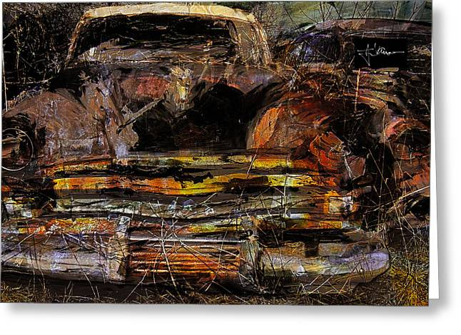 Greeting Card featuring the digital art Cadillac by Jim Vance