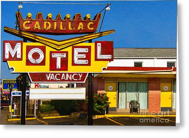 Cadillac Motel 20130307 Greeting Card by Wingsdomain Art and Photography