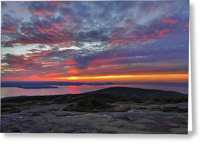 Cadillac Mountain Sunrise 2 Greeting Card by Stephen  Vecchiotti