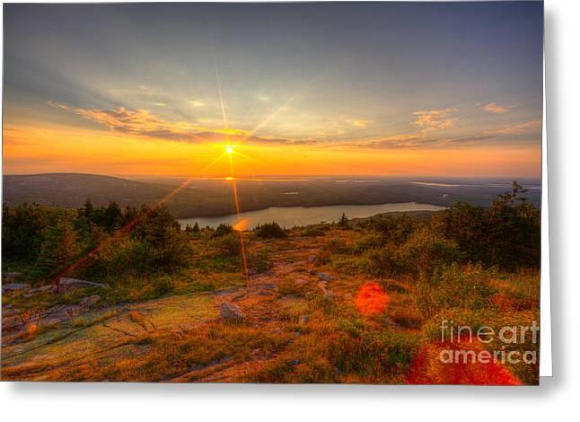 Cadillac Mountain Sunset Acadia National Park Bar Harbor Maine Greeting Card