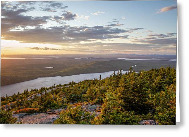 Greeting Card featuring the photograph Cadillac Mountain Sunset  by Trace Kittrell