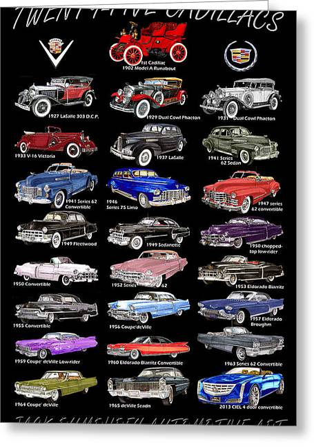 25 Cadillacs In A Poster  Greeting Card