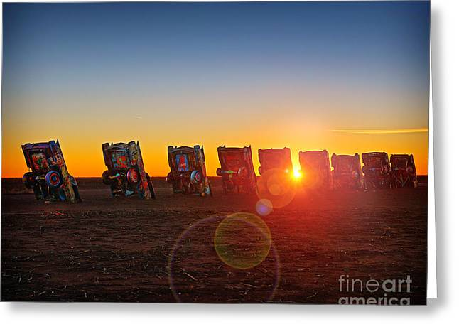 Cadillac Ranch Sunset Greeting Card