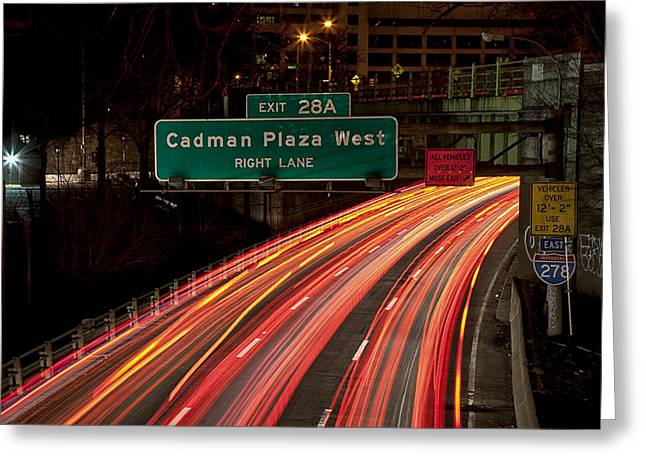 Cadman Plaza Night Greeting Card